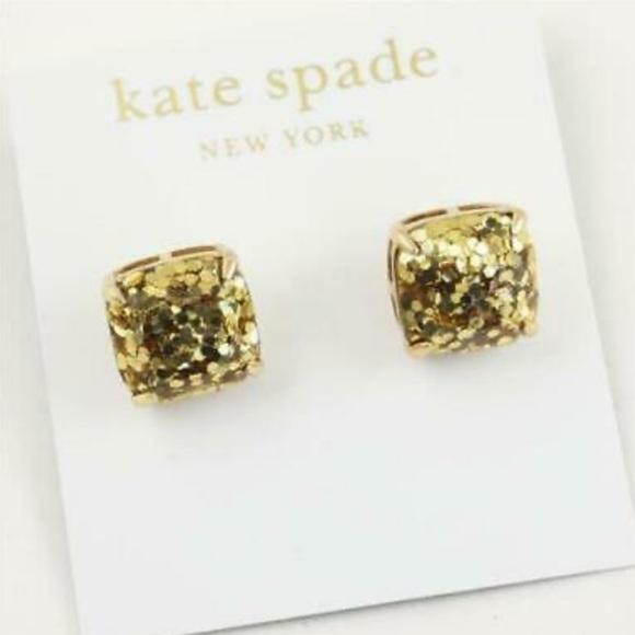 Kate Spade Gold Glitter Studs